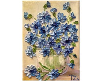 Blue Cornflowers Original impasto oil painting No.04-76  ready to hang
