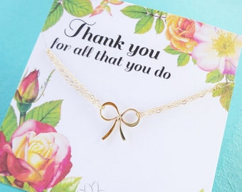Gift for Teacher, Bow Bracelet on thank you card, administrative professional secretary, holiday, christmas gifts from child otis b