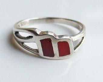 Vintage 925 Sterling Silver Double Red Enamel Twist Ring Size 5 3/4 - L