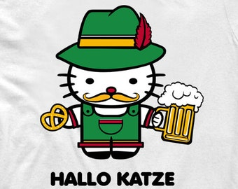 A funny twist on Hello Kitty white T-Shirt-If Hello Kitty were to go to Germany,Hallo Kitty,Oktoberfest,Funny hello kitty, Men's and women's