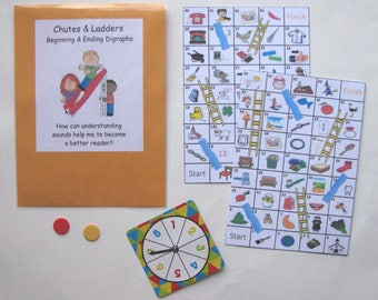 Teacher Made Literacy Center Learning Resource Game Chutes & Ladders Digraphs