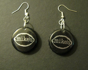Recycled Mike's Hard Lemonade Beer Bottle Cap Earrings