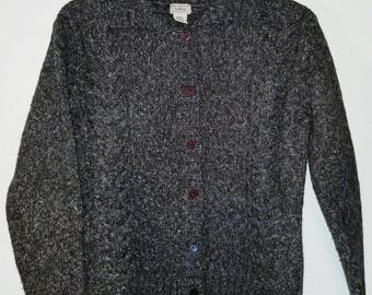 LL BEAN Womens XL Brown Wool blend chunky Cable Knit Button Up Sweater