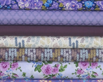 WEEKLY SPECIAL and Free Shipping! Purple Blender Bundle of 8 Quarter Yard Cuts, Cotton Quilt Fabric Bundle on Sale