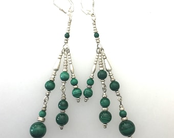 Malachite and Sterling Silver Multistrand Earrings by Kate Drew-Wilkinson