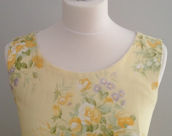 Yellow floral dress, vintage style dress, vintage fabric dress, floral dress, summer wedding guest dress, special occasion dress,