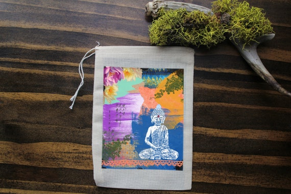 Buddha Muslin Bags - Art Bag - Pouch - Gift Bag - 5x7 bag - Crystal Pouch - Party Favor