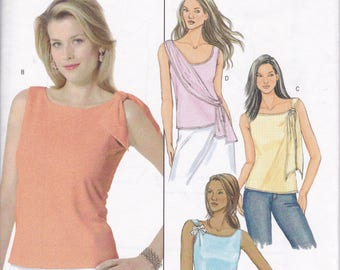 FREE US SHIP Butterick 4516 Sewing Pattern Pullover Easy Top Blouse Sleeveless Tie Sash New Size 16 18 20 22 plus size Bust 38 40 42 44