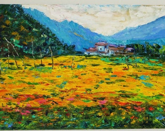 Abstract Art Landscape Oil Painting Mountains Flowers Fields Large Size Wall Decor Wall Art Colorful Modern Art Large Painting on Canvas