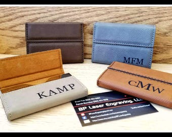Custom Leatherette, Leather Business Card Holder, Boss Gift, Personalized Card Case, Corporate Gifts, Fathers Day Gift, Groomsmen Gifts