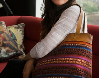 Andean Textile + Leather Tan Tote Bag