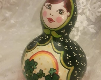 Irish Doll Gourd, St. Patrick's Day Gift, Art Doll, Painted Gourd