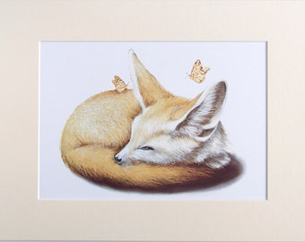Nursery/Child Room Decor - Little Curious Fox Print (A3 Mount)