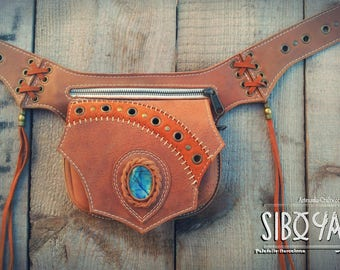 LABRADORITE: Leather Utility Belt - Festival Belt with LABRADORITE Stone by Sibo Yanke. Handmade.