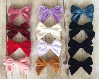 "U CHOOSE   Big Velvet 4.75"" Hair bow clip baby girl grosgrain hairbow headband toddler newborn Medium Bows"