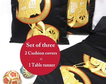 Set of 3/Kimono cushion cover/Japanese obi silk cushion/45×45cm/Kimono pillow case/Vintage Kimono/Set of 2 cushion covers and 1 table runner