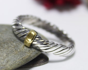 Golden Line With Twist Sterling Silver 24K Keum-boo Ring, Twist Creeper Silver Ring, Rustic Ring, Engagement Ring, Couple Ring