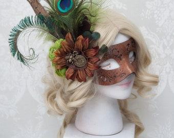 Steampunk Mask   Gaslight Romance   Masquerade Mask, Venetian Mask, Fascinator Mask, Brown Mask, Faux Leather Mask, Fairy Masquerade
