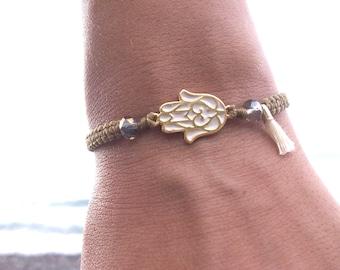 Fatimas talisman bracelet - hamsa hand bracelet - lucky charm - macrame bracelet - hand of Fatima - adjustable