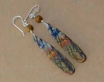 Red Creek Jasper Dangle Earrings, Long Dangle Stone Earrings, Boho Earrings