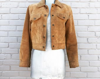 Vintage 70s Chestnut Cropped Suede Jacket  medium