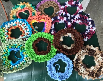 Crocheted ornaments from bracelets.