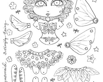 Instant Download Butterfly Fairy Paper Doll