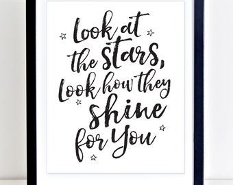 Cold Play Print, Look at the Stars Look How They Shine for You, Cold Play, Song Lyrics Art, Typography Print, Modern Nursery, PRINTABLE ART