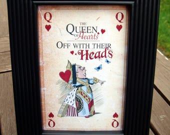Queen of Hearts Black Framed Picture - Alice in Wonderland character - off with her head