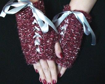 Fingerless Gloves Dark Red White  Wrist Warmers with Grey Satin Ribbons Handknit SALE