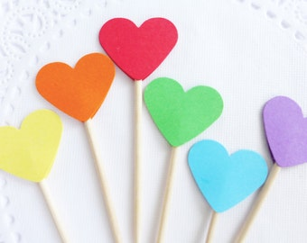 Rainbow Cupcake Toppers, Heart Cupcake Toppers, Birthday Party Picks, Heart Toothpicks, Rainbox Baby Shower, Party Food Picks, Paper Hearts