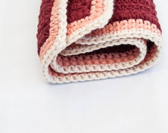 Crocheted  ready to ship MARRONE MARRONE // pot holders / organic cotton / maroon / salmon / cream / peach