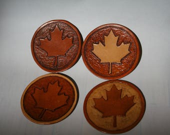 Leather Coasters - set of 4, Maple leaf