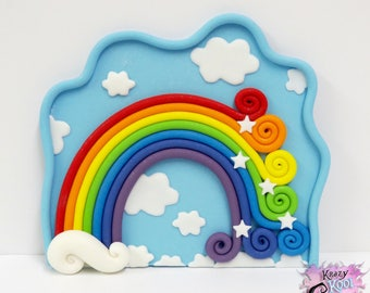 Rainbow And Sky Background Cake Topper