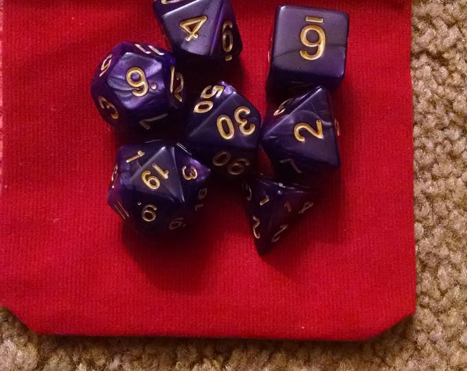 Noble Merchant - 7 Die Polyhedral Set with Pouch