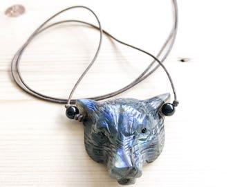 Panther Necklace, Labradorite, Spirit Animal,  Necklace, Crystal Necklace, Statement Pendant, Leather Cord, Hand Carved