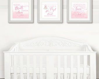 Girl Nursey Decor, Pink Nursery Prints, For This Child We Prayed, Set Of 3 Nursery Prints, Your First Breath, No One Else Will Ever Know