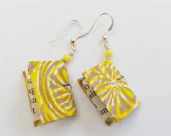 Small yellow paper earrings