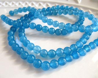 6mm JADE Beads in Sky Blue, Dyed, Round, Smooth, Full Strand, 60 Pcs, Gemstones, Semi Translucent, Candy Jade