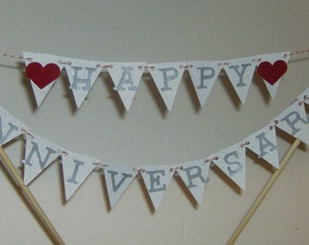 Silver Happy Anniversary  Cake Topper,  Anniversary Cake Topper, Cake Topper, Wedding, Mini Happy Anniversary Banner, Happy Anniversary
