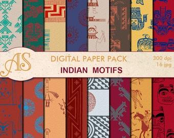 Digital authentic Indian motifs Paper Pack, 16 printable Digital Scrapbooking papers, tribal Digital Collage, Instant Download, set 245