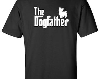 The Dogfather Yorkie Dog Logo Graphic TShirt