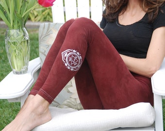 "Brown Yoga Leggings Hand Dyed from The ArtiZan Collection with Optional Hand Painted Design 30"" Inseam"