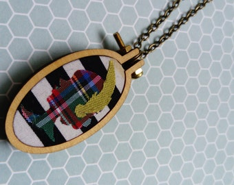 Mini Embroidery Hoop//Pendant//Necklace//Cameo//1920's//Flapper Girl//Tartan//B&W Stripe//Gifts for Her
