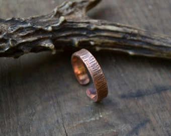 Simple adjustable copper ring band, rustic copper ring band, textured copper ring band, thick copper ring band, chunky men copper ring