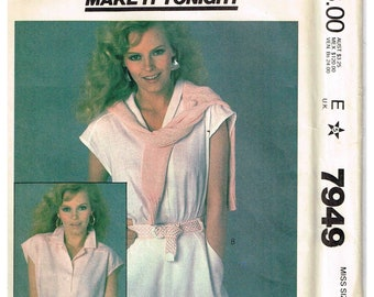 Sewing Pattern 1980s Misses Blouse Top V Neckine Front Buttoned Notched Shawl Collar McCalls 7949 Size Small 10 12  Bust  32.5 34