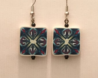 Earrings made from Polymer Clay, Surgical Steel Ear Wires, Shades of Blues, White, Red Floral, Geometric, Canework