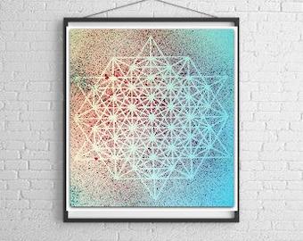 Wholesale Set of 6 Star Tetrahedron Art Prints, Sacred Geometry, Unframed Art Print, Wall Art, Home Decor, 8.5x11 Art Print