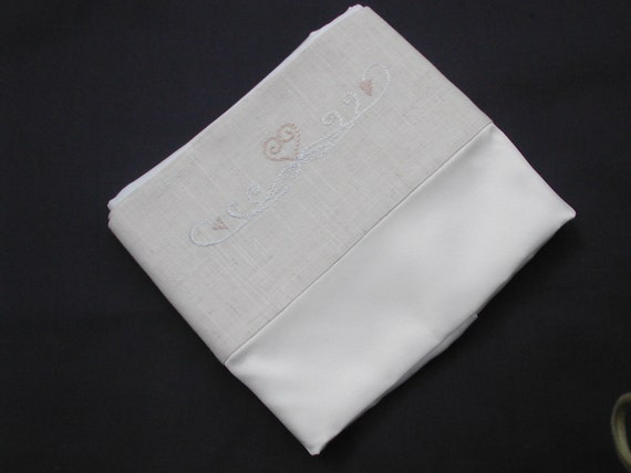 silk and linen pillowcase with cotton back and hand emroidered motif (single)