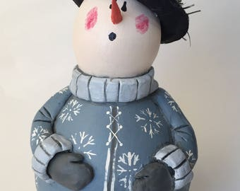 Snowman Gourd Holiday Decor Hand Painted Gourd Folk Art Snowman Winter Decor Christmas Decoration Holiday Ornament Primitive Snowman